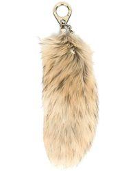 Moncler Raccoon Fur Bag Charm - Natural
