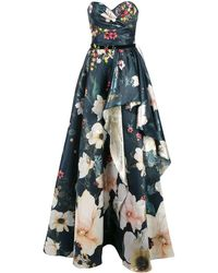 Marchesa notte Floral bead embroidered corset gown - Bleu