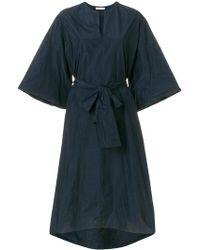 The Row Wide Sleeves Tie Waist Dress - Blue