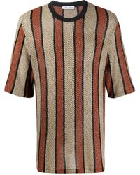 Cmmn Swdn Metallic Striped Pattern Top - Brown