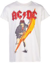 MadeWorn Camiseta ACDC con efecto envejecido - Blanco
