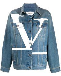 Valentino Vロゴ デニムジャケット - ブルー