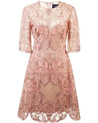 Marchesa notte Embroidered lace cocktail dress - Rose