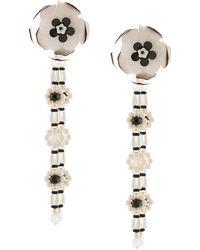 Biyan Pendientes con detalles florales y perlas - Blanco