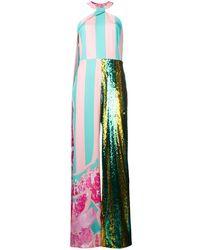 Halpern Striped Sequinned Halterneck Jumpsuit - Pink