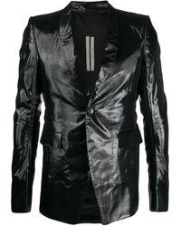 Rick Owens メタリック テーラードジャケット - ブラック