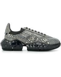 Jimmy Choo Diamond Crystal-embellished Trainers - Black