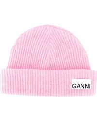 Ganni Ribbed-knit Hat - Roze
