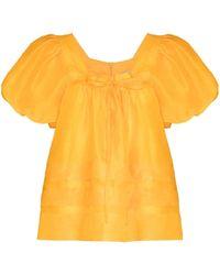 Lee Mathews Canary Puff-sleeve Blouse - Yellow