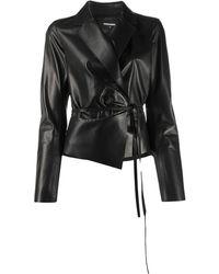 DSquared² Tie-waist Leather Jacket - Black