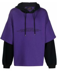 A BETTER MISTAKE Graphic-print Double-sleeve Hoodie - Purple