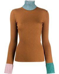 Lanvin コントラストトリム セーター - ブラウン