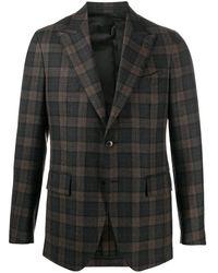 Gabriele Pasini チェック シングルジャケット - グレー