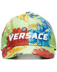 5e350958a5e Versace - Green Logo Embroidered Jewellery Print Silk Baseball Cap - Lyst