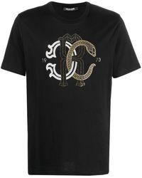 Roberto Cavalli スタッズロゴ Tシャツ - ブラック