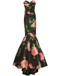 Richard Quinn Floral Polka-dot Print Mermaid-fit Gown - Green