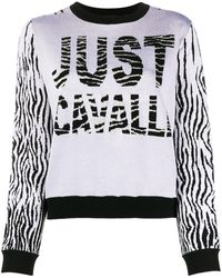 Just Cavalli Color-block Intarsia Knit Sweater - Gray
