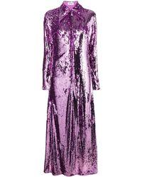 16Arlington スパンコール シャツドレス - パープル