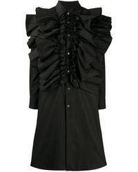 Comme des Garçons ラッフルトリム シャツドレス - ブラック