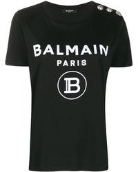 Balmain ロゴボタン Tシャツ - ブラック