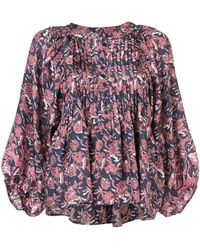 Apiece Apart - Floral Pintuck Blouse - Lyst