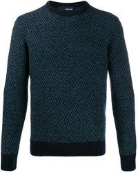 Lardini ヘリンボーン セーター - ブルー