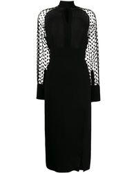 Balmain Платье С Рукавами В Горох - Черный