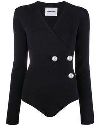 Jil Sander Faux Pearl-embellished Wrap Bodysuit - Black