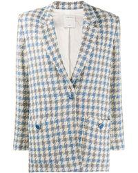 Sandro Blazer en tweed à motif pied-de-poule Caliana - Bleu