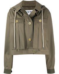 Loewe Giacca militare con cappuccio - Verde