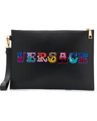 Versace Clutch Met Geborduurd Logo - Zwart