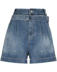 Tibi Belted-waist Denim Shorts - Blue