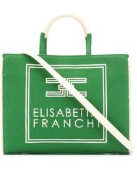Elisabetta Franchi ウーブン ハンドバッグ - グリーン