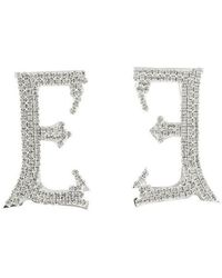 Ermanno Scervino Jewelled E Brooches - Metallic