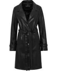 Unreal Fur Пальто Из Искусственной Кожи С Поясом - Черный