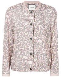 Max & Moi Leopard Print Bomber Jacket - Pink