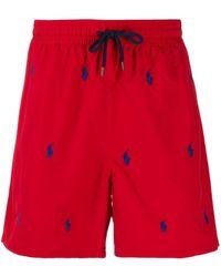 Polo Ralph Lauren Badeshorts mit Logos - Rot