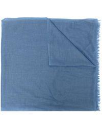 N.Peal Cashmere カシミア フレイドスカーフ - ブルー