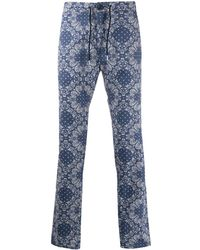 Department 5 Straight Leg Paisley Print Trousers - Blue
