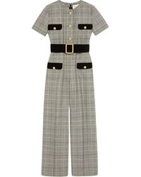 Gucci Prince Of Wales Checked Twill Jumpsuit - Gray