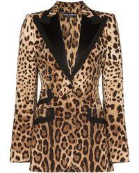 Dolce & Gabbana レオパード ジャケット - ブラウン