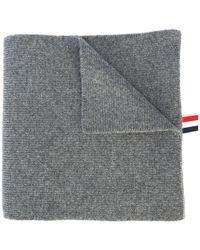 Thom Browne 4-bar Stripe Cashmere Rib Scarf - Grijs