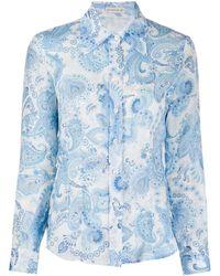 Etro Рубашка С Объемным Воротником И Принтом Пейсли - Синий