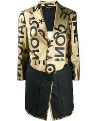 Comme des Garçons Logo Print Single-breasted Coat - Metallic