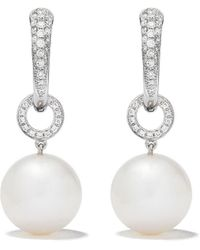 Kiki McDonough 18kt White Gold Pearls Pearl Ball Drop And Diamond Tapered Hoop Earrings