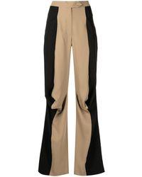 Kiko Kostadinov Pantalon drapé bicolore - Marron