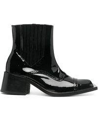 Martine Rose Patent Leather Square-toe Ankle Boots - Black