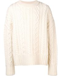 AMI Crew Neck Cable Knit Oversize Sweater - ホワイト