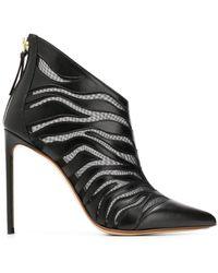 Francesco Russo Sheer Zebra Booties - Black