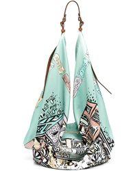 Emilio Pucci Large Illustration-print Shoulder Bag - Blue